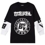 Diesel Logo Double Layer Long Sleeve Tee Black 16 years