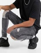 SikSilk burst knee skinny jeans in grey