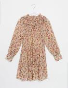 Only smock dress with ruffle neck in beige floral-Neutral