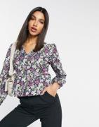 Vero Moda blouse with volume sleeves in purple floral