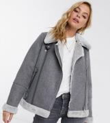 Vero Moda Petite aviator jacket in grey