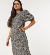 Vero Moda Petite puff sleeve midi dress in floral print-Multi