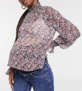 ASOS DESIGN Maternity long sleeve floral blouse with shirred neck and ...