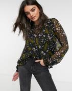 Vero Moda chiffon blouse with volume sleeve in dark floral-Multi