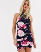 AX Paris floral wrap mini dress-Navy